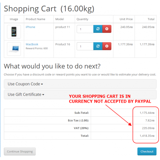 PayPal payment Standard & Express in local currency